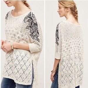 Anthropologie Embroidered Launa Poncho Sweater